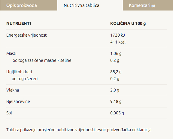 Advent - nutritivna tablica za proizvod