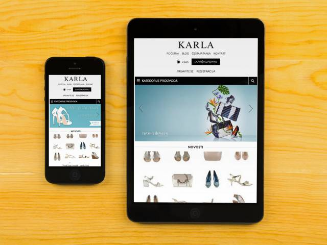 Karla web shop na smartphoneu i tabletu