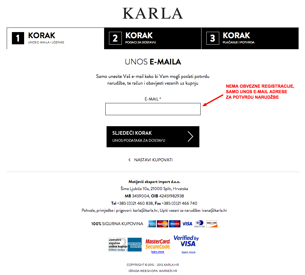 web shop karla korak 1 checkout opcionalna registracija