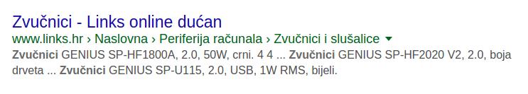 Primjeri sažetaka web mjesta za pronalaženje