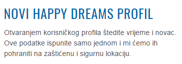 Happy Dreams web obrazac