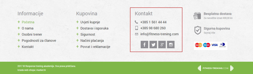 Web shop fitness trening
